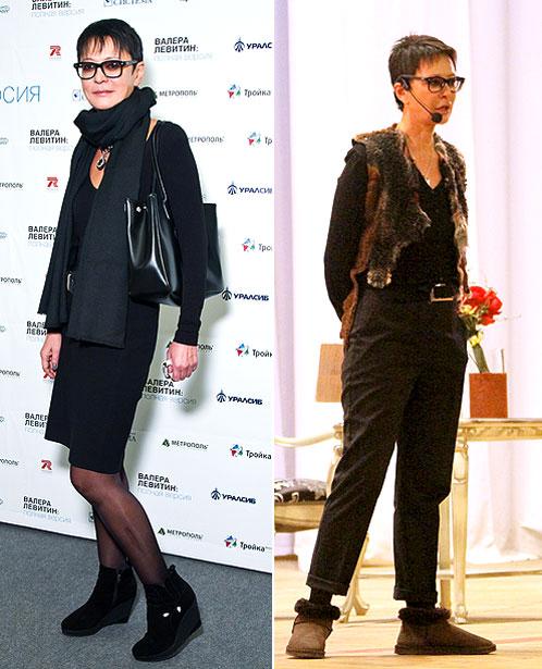 В Самаре Ирина Хакамада сменила привычный деловой стиль (слева) на уютную жилетку и меховые тапочки (справа)